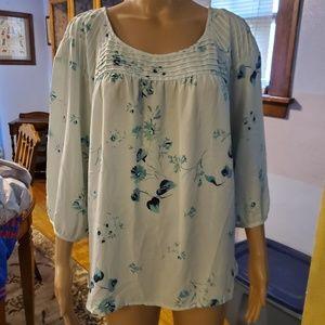 Lauren Conrad, Size XL, soft mint floral blouse.